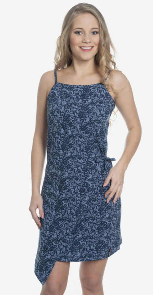 Modern pánt nélküli nyári ruha aszimmetrikus szabásban