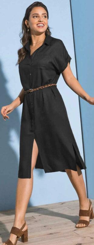 Egyszínű teljes hosszúságú női rövid ruhás női ruha