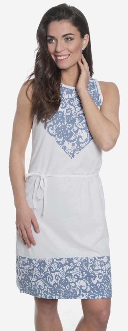 Fehér nyári ruha kék csipke nyomtatással