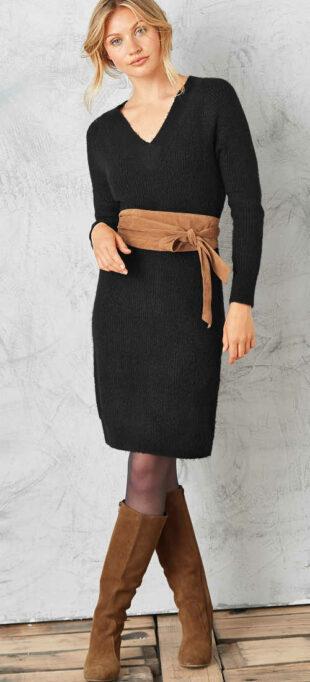 Női fekete pulóverruha fonott mintával
