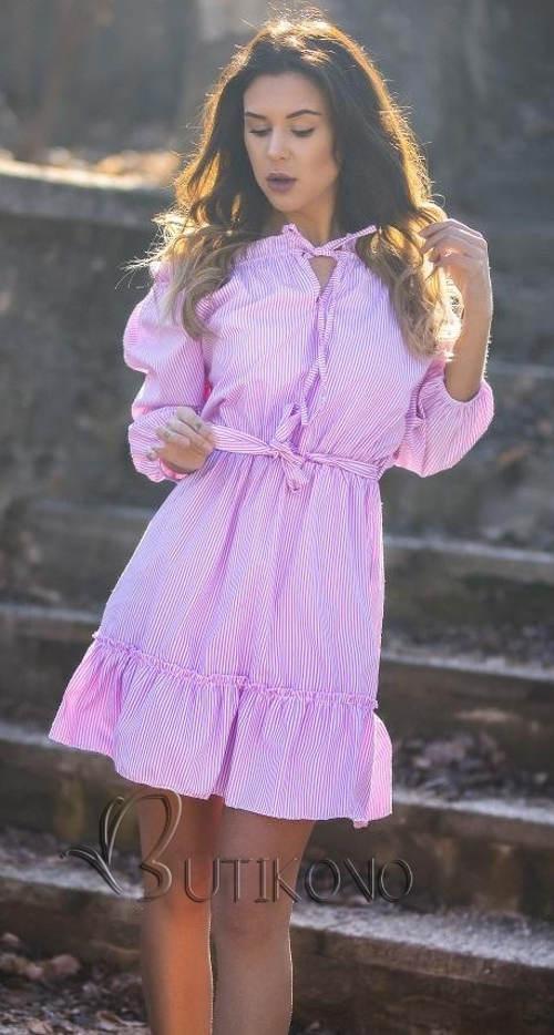 Finom csíkos rózsaszín női ruha