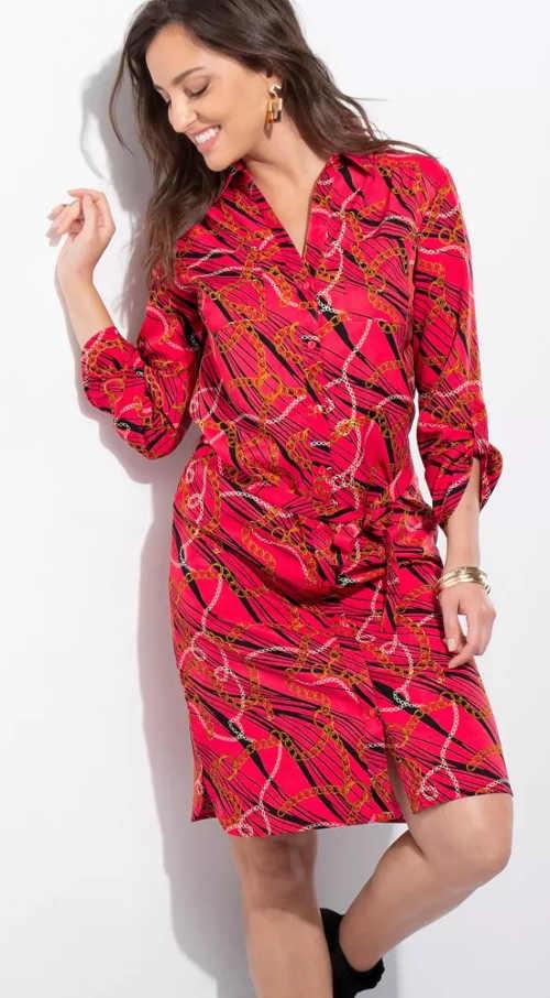 Piros inges női ruha gallérral