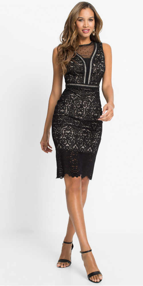 Fekete női elegáns ruha, hízelgő csipkés szabással