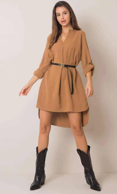 Sötét bézs színű ruha övvel, eredeti mintával