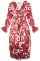 Sötét rózsaszín női nyomtatott midi hosszúságú ruha