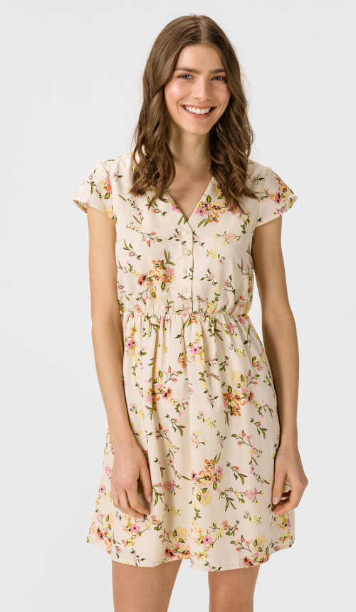 Alkalmi ruha modern virágmintával rövid hosszúságban