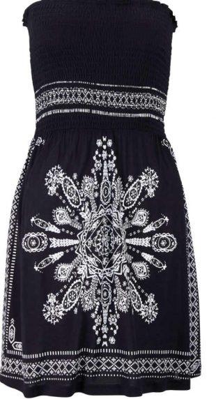 Fekete-fehér mintás bandázs ruha