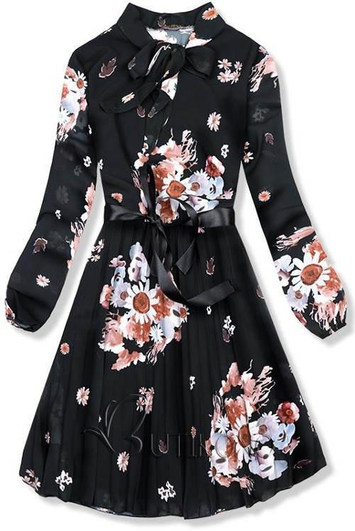 Könnyű fekete virágos ruha Ivy