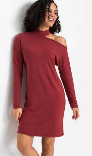 Kötött ruha piros színben, hatékony karfával