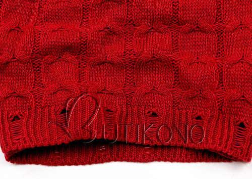 Meleg téli piros kötött ruha leggingsszel