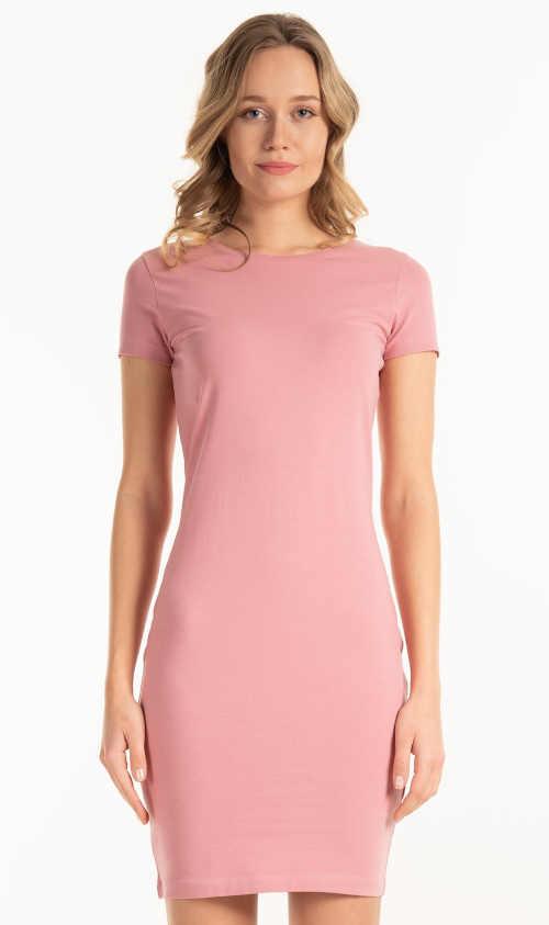 Modern egyszerű női trükkös ruha rövid ujjal
