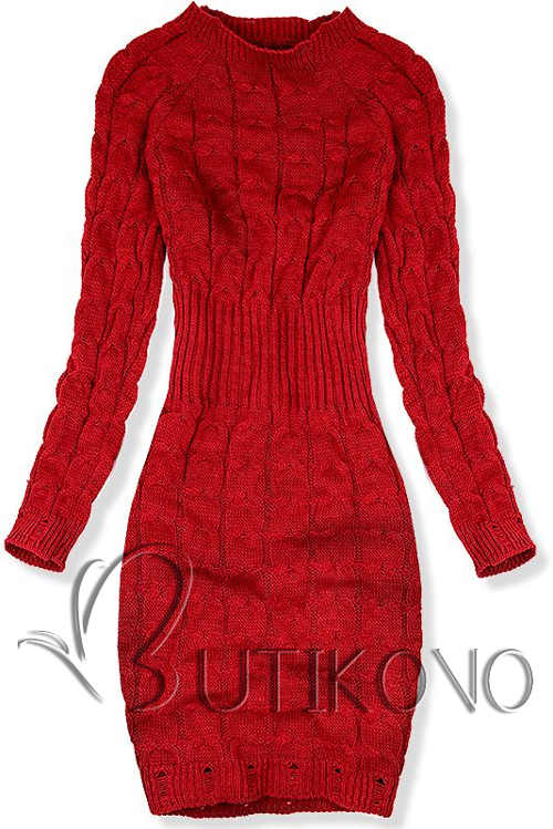 Piros kötött pulóver ruha