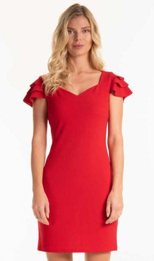 Ujjatlan ruha fodrokkal piros színben