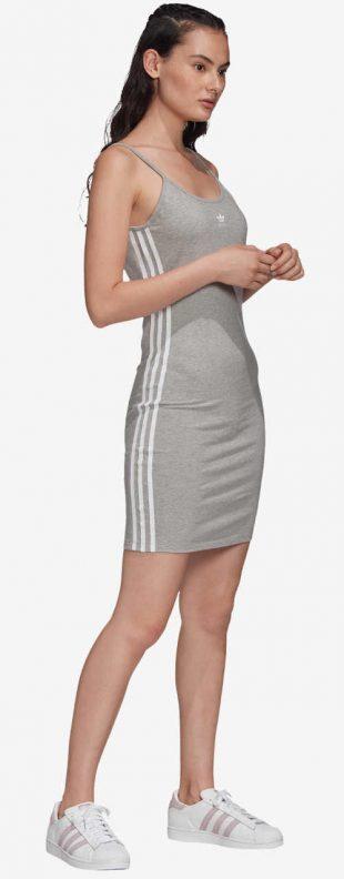 Adidas nyári ruha szürke, térd fölötti hosszúságú