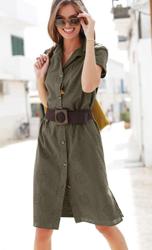 Angol hímzéssel ellátott ingruha kellemes khaki színben