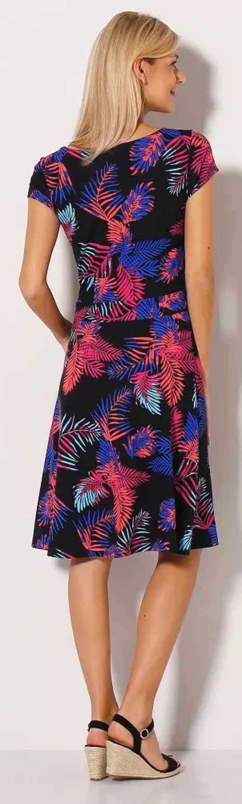 Fekete női nyári ruha színes virágmintával