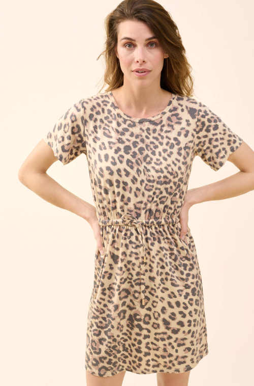Kényelmes és légies anyagból készült modern állatmintás ruha