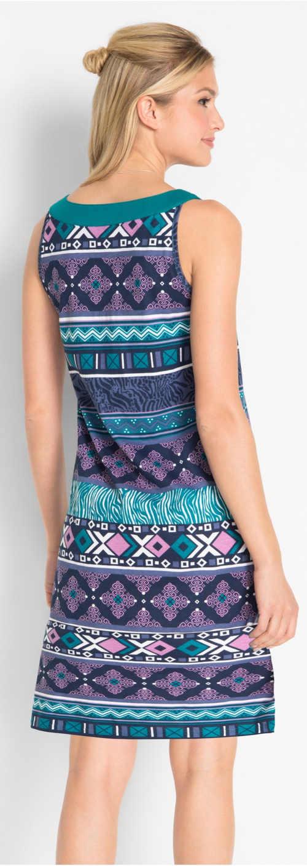 Lila és kék mintás női ruha nyárra