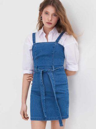 Szexi mini hosszúságú farmer pántos ruha övvel