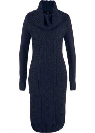 Zsebes téli ruha modern kötött mintával