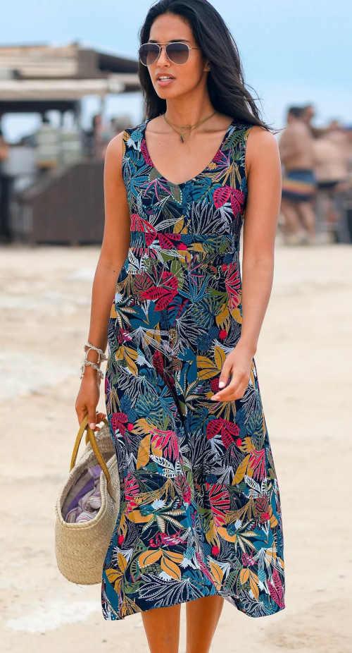 Női modern hosszú nyomtatott ruha V-nyakkivágással