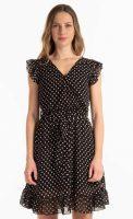 Női pöttyös nyári sifon ruha rövid hosszúságban