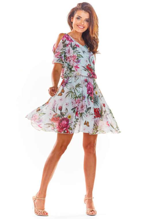 Rövid hosszú virágos ruha karöltővel