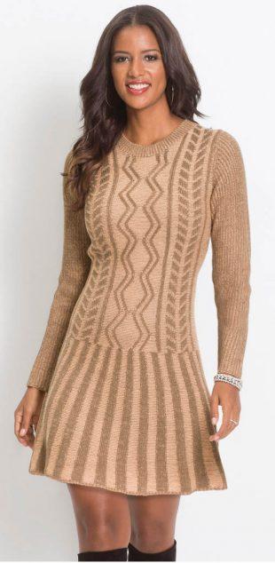 Rövid kötött pulóver ruha hosszú ujjakkal