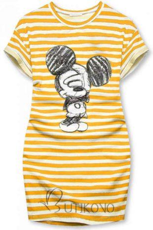 Stílusos csíkos ruha vidám Mickey egér képpel