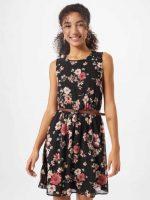 Virágos rövid ujjatlan ruha övvel